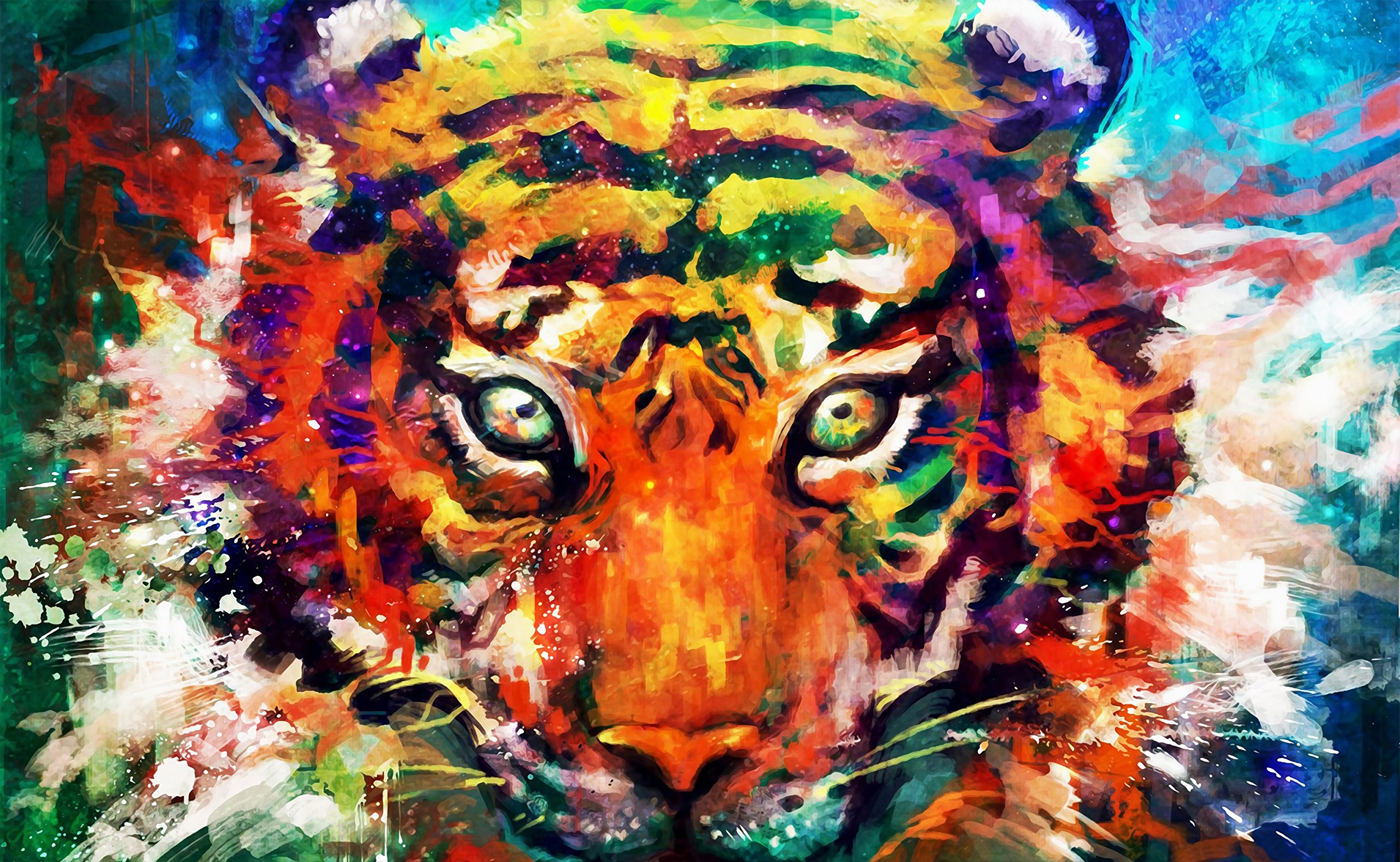 "TINMI ARTS 5D DIY Diamond Painting Full Round AB Drill Wild Animal Kits for Adults Cross Stitch Rhinestone Embroidery Home Wall Decoration (Watercolor Tiger,16""x23"")"