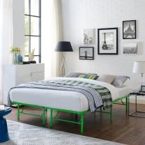 Modway Horizon Full Bed Frame In Green - Replaces Box Spring - Folding Metal Mattress Bed Frame