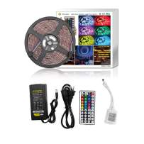 Led Strip Light Waterproof DC12V 16.4ft 5M 5050 150LEDs RGB Led Tape Light Flexible Color Changing Full Kit with 44 Keys Remote Controller and 12V 3A Power Supply for Home Kitchen TV Car by LYWLIGHTS