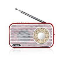 Retro Radio with Bluetooth Speaker Rechargeable Battery Operated AM FM NOAA Portable Radio Pocket Vintage Radio, Supports Stereo Earphone, USB MP3 Player, TF Cards(Red)