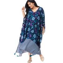 Roamans Women's Plus Size V-Neck Caftan Dress with Tassels