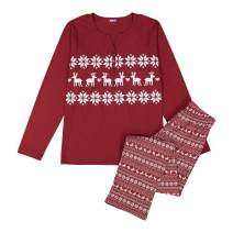 NBB Women's Christmas Pajama Set -2 Piece Cotton Long Sleeves Holiday Sleepwear