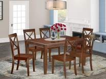 East West Furniture DUBO7-MAH-W 7Pc Rectangle 60 Inch Dining Table And Six Wood Seat Chairs, 7, Mahogany