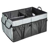 AmazonBasics Foldable Cargo Trunk Organizer with Plastic Handles - Grey