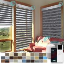 """XINGXUN High Precision Customized Color and Size Motorized Window Roller Zebra Shades/Blinds with Built-in Battery, Guaranteed Accuracy in 0.1"""", Available for Smart Homes"""