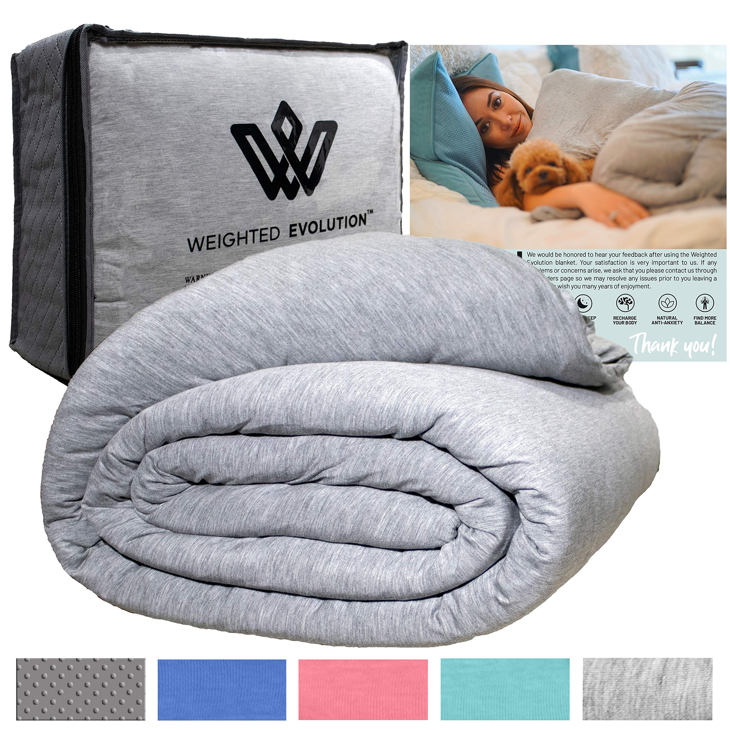 """Weighted Evolution Weighted Blanket for Kids + Bonus Organic Bamboo Duvet Cover Best Blanket for Kids-Hypoallergenic Warm Cooling Calm Cozy Heavy Blanket (Grey, 41""""x 60""""