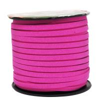 Mandala Crafts 50 Yards 5mm Wide Jewelry Making Flat Micro Fiber Lace Faux Suede Leather Cord (5mm, Hot Pink)