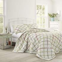 Laura Ashley Home Ruffle Garden Collection Quilt-100% Cotton, Ultra Soft, All Season Bedding, Reversible Stylish Coverlet, Twin, Cream