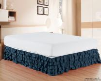 Elegant Comfort Luxurious Premium Quality 1500 Thread Count Wrinkle and Fade Resistant Egyptian Quality Microfiber Multi-Ruffle Bed Skirt - 15inch Drop, King, Navy Blue