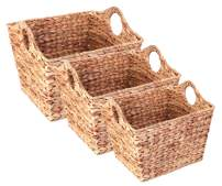 Vintiquewise Water Hyacinth Rectangular Wicker Storage Baskets with Cutout Handles, Set of 3 Sizes