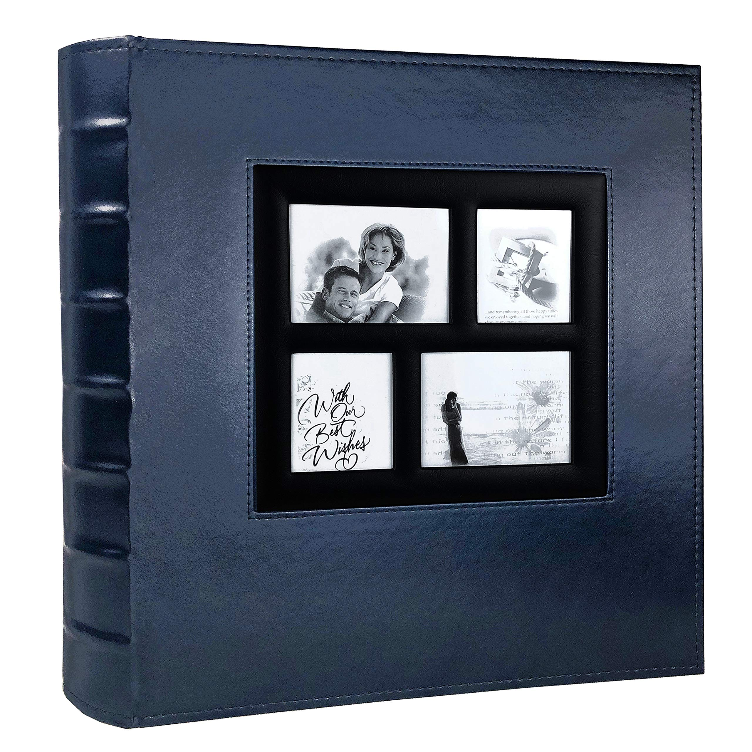 RECUTMS Photo Album 4x6 Holds 500 Photos Black Pages Large Capacity Leather Cover Wedding Family Baby Photo Albums Book Horizontal and Vertical Photos (Blue)