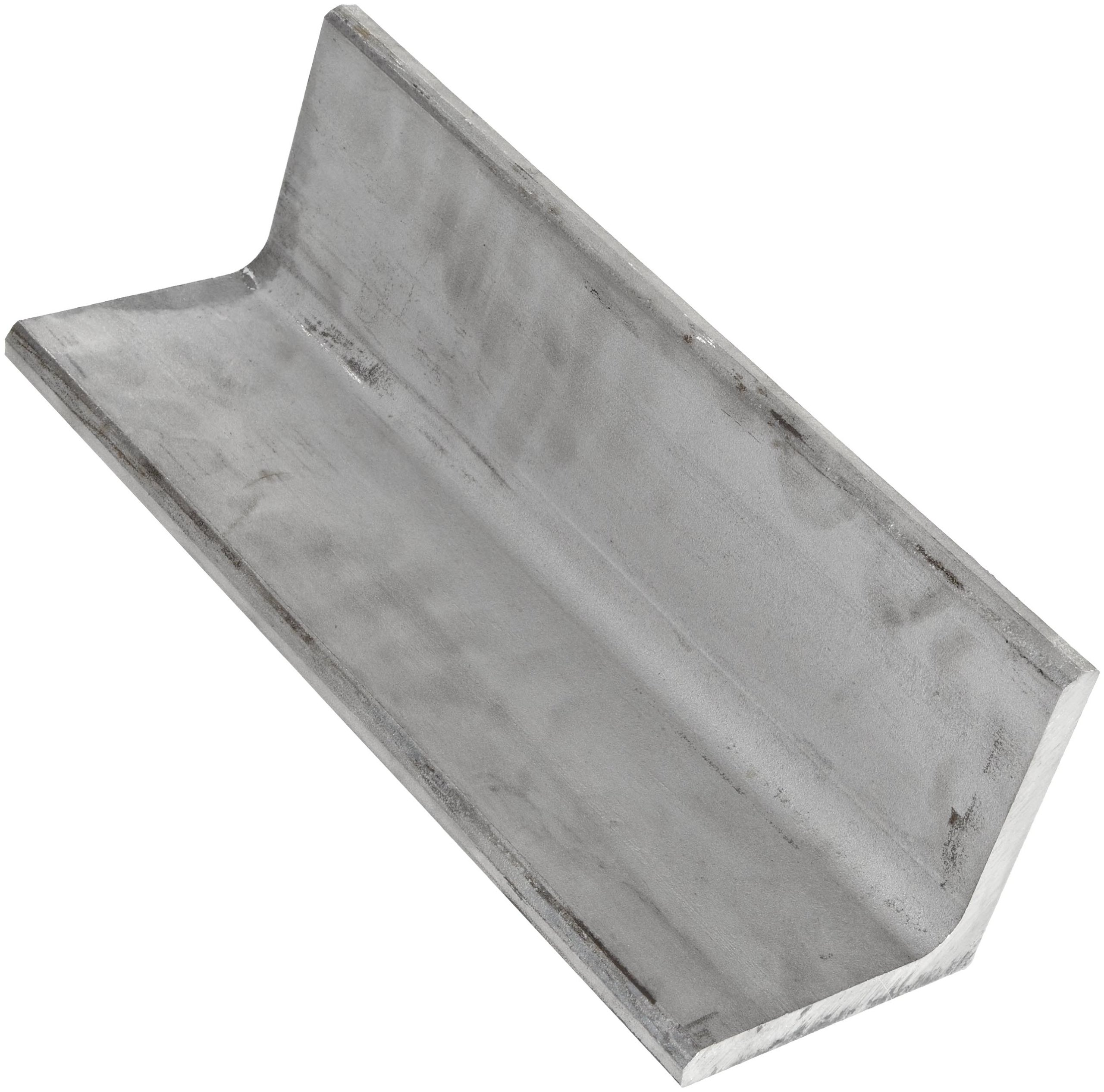 """316 Stainless Steel Angle, Unpolished (Mill) Finish, ASTM A276, Equal Leg Length, Rounded Corners, 1"""" Leg Lengths, 0.1875"""" Wall Thickness, 24"""" Length"""
