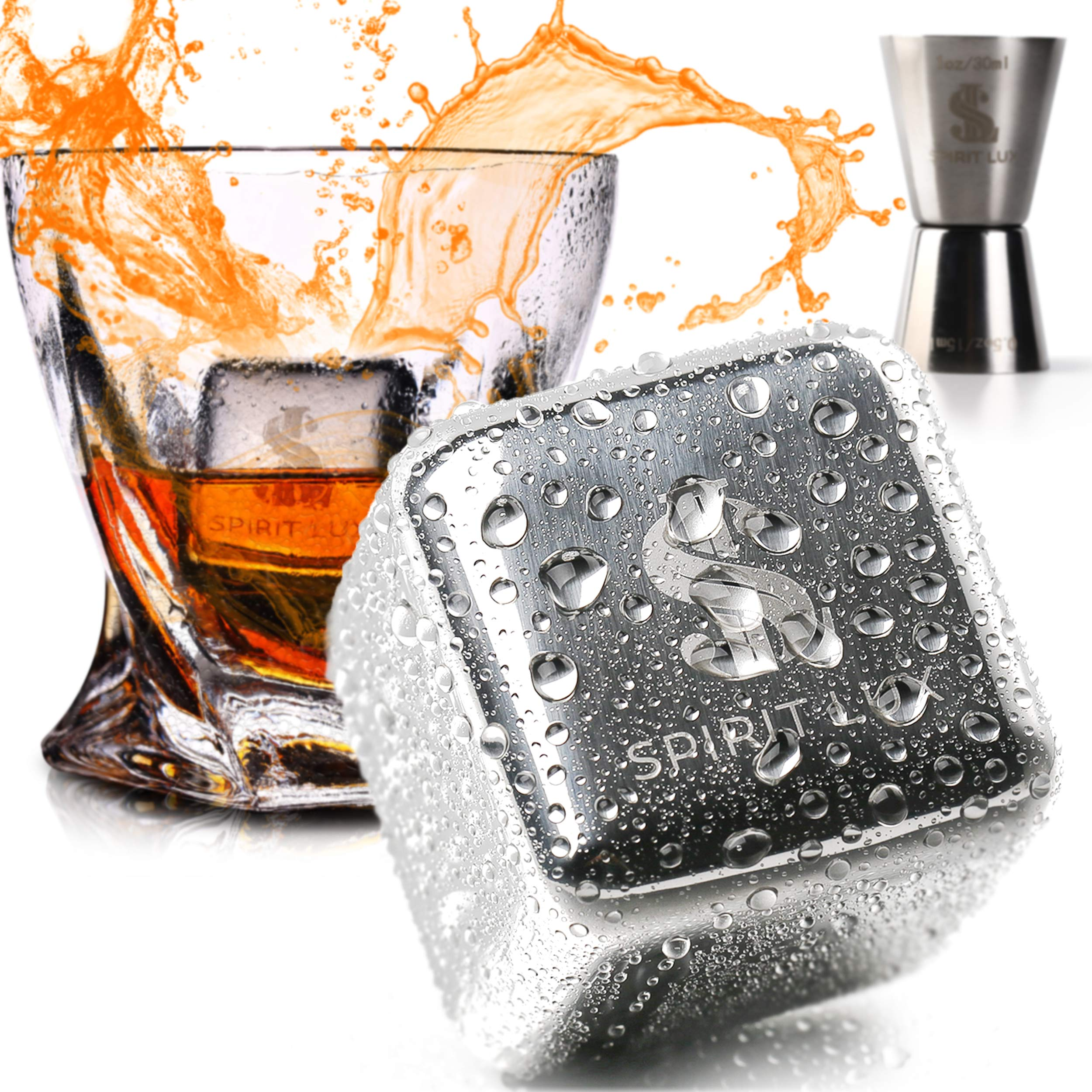 """King-Sized Premium Whiskey Stones Stainless Steel Gift Set-Bourbon, Scotch Reusable Metal Ice Cubes -Whiskey Rocks Chilling Stones 1.5"""" extra large + Cork Coasters for drink by Spirit Lux"""