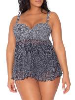 Smart & Sexy Women's Plus Size Full Busted Ruffle Twist Bandeau Tankini