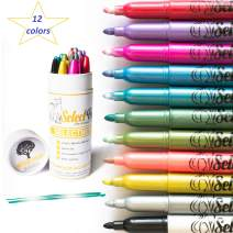 Metallic Markers Paint Pens for Rock Painting-Decorations- Card Making- Coloring-Scrapbooking- Doodling- Photo-Crafts,Metal,Wood- Glitter Set of 12 Medium Tip Point Pen