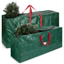 Large Christmas Tree Storage Bag- 2 pack 7.5 & 9ft Tall Holiday Artificial Disassembled Trees with Durable Reinforced Handles & Dual Zipper- Waterproof Material Protects from Dust, Moisture & Insect
