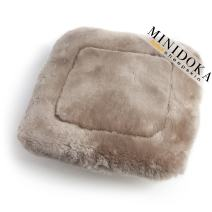 Australian Sheepskin Seat Pad, Thick Short Wool, Natural Leather for Premium Fit, Non-Slip Backing, Tan, 20 x 20, Minidoka Sheepskin