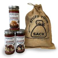 Sanders Famous Gourmet Topping 3-Pack Gift Sack for Ice Cream, Sundaes, Desserts, Coffee, and More - All-Natural Milk Chocolate, Dark Chocolate, Caramel, 10 Ounce (3 Pack)