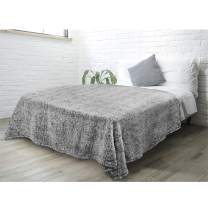 PAVILIA Plush Sherpa Throw Blanket for Couch Sofa   Fluffy Microfiber Fleece Throw   Soft, Fuzzy, Cozy, Shaggy, Lightweight   Heather Gray Blanket   90 x 90 Inches