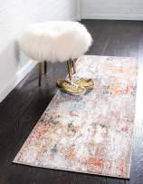 Unique Loom Rainbow Collection Modern Abstract Watercolor Multi Runner Rug (2' 0 x 6' 0)