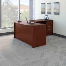 Bush Business Furniture Series C Right Handed L Shaped Desk with Mobile File Cabinet in Mahogany