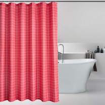 Bermino Textured Fabric Bath Shower Curtain - Checkered Shower Curtains for Bathroom with 12 Hooks, 72 x 72 inch, Red Checkered