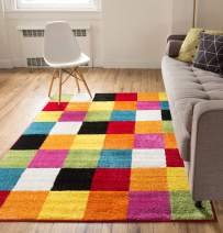 "Modern Squares Multi Geometric Area Rug 8x10 ( 7'10"" x 10'6"" ) Abstract Checkerborad Boxes Bright Living Kid RoomPlayroom Nursery Bedroom Carpet Soft Durable Stain Fade Resistant Shed Free Easy Clean"