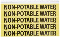 NMC B1175Y Non-Potable Water Pipe Marker - 9in. x 1 in. PS Vinyl Pipe Marker with Black Text on Yellow Base
