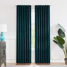 "Teal Velvet Blackout Curtain Panels 90% Room Darkening Window Treatment Drape Sets Rod Pocket Back Tabs Geo Embossed Trellis Pattern, for Living Room, Bedroom, Nursury, Kids Room, 52""x95""x2"