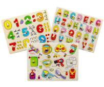 Toddler Puzzles Wooden Peg Puzzles for Toddlers 2 3 4 5 Years Old (Set of 3) - Numbers, Alphabet and Objects Puzzle