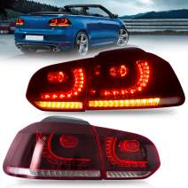 VLAND Tail lights Assembly Fit for 2010 2011 2012 2013 Volkswagen GOLF 6 MK6 , Taill Lamp assembly with Sequential Turn Signal, Reverse Lights, LED DRL light, Plug-and-play, Red