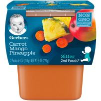 Gerber 2nd Foods, Carrot, Mango & Pineapple Pureed Baby Food, 4 Ounce Tubs, 2 Count (Pack of 8)