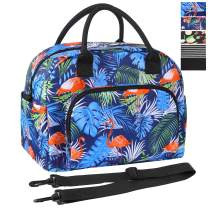 ORASANT Lunch Bag for Women, Large& Durable Insulated Water-resistant Cooler& Thermal Lunch Bag with Leaf and Flamingo patterns, Fashionable Lunch Tote with Detachable Shoulder Strap for Work, Beach