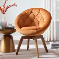 Volans Mid Century Modern Velvet Tufted Round Back Upholstered Swivel Accent Chair Orange with Wood Legs Vanity Chair, Home Office Desk Chair for Living Room Bedroom Study