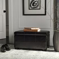 Safavieh Hudson Collection Williamsburg Brown Leather Small Storage Bench
