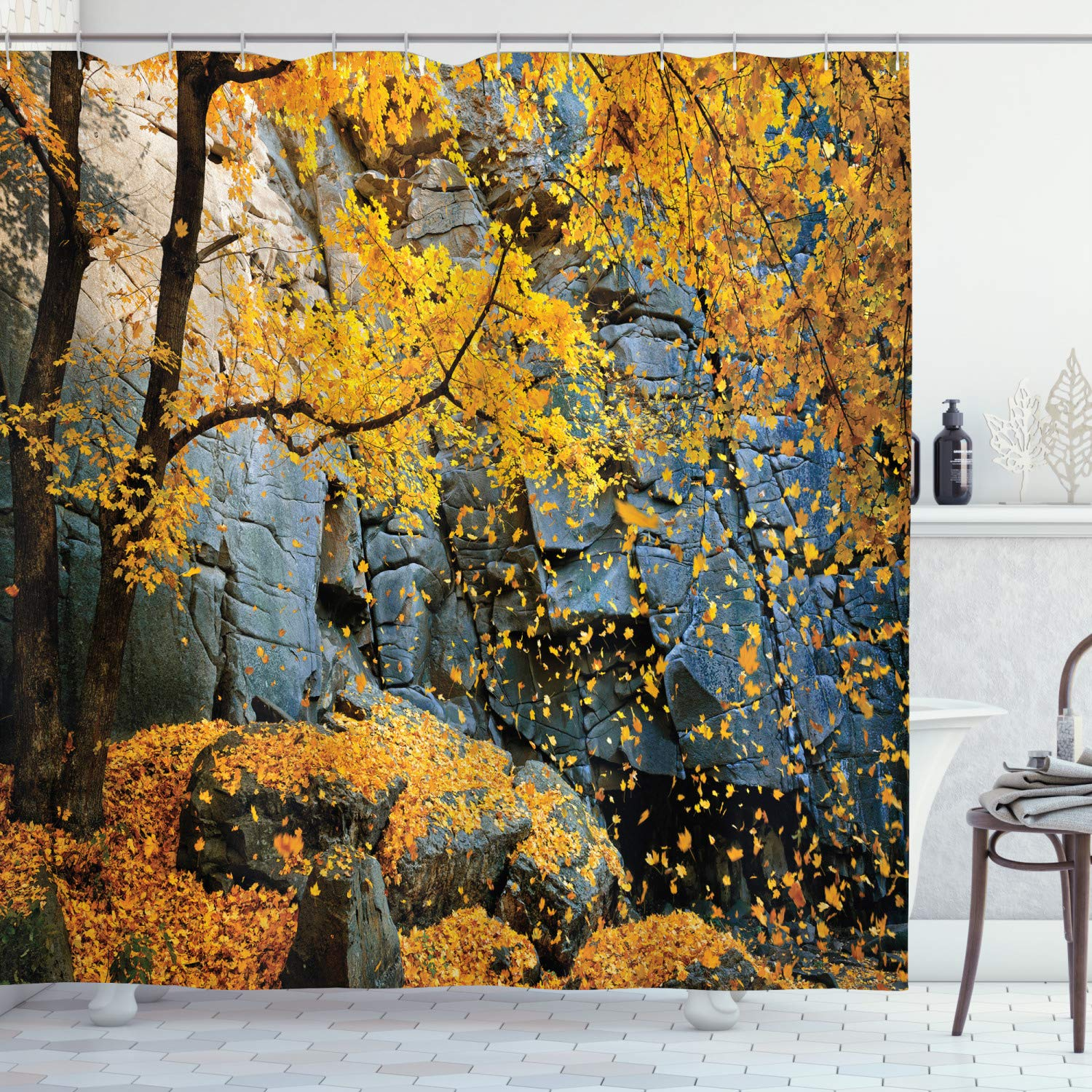 "Ambesonne Leaves Shower Curtain, Canadian Maple Trees Falling Leaves Down Surrounded by Scenic Rocks Stones Foliage, Cloth Fabric Bathroom Decor Set with Hooks, 70"" Long, Blue Yellow"