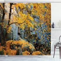 """Ambesonne Leaves Shower Curtain, Canadian Maple Trees Falling Leaves Down Surrounded by Scenic Rocks Stones Foliage, Cloth Fabric Bathroom Decor Set with Hooks, 70"""" Long, Blue Yellow"""