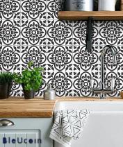 "Moroccan Terracotta Peel and Stick Tile Stickers for Kitchen Backsplash Bathroom Floor Countertop Linoleum Waterproof Removable DIY Vinyl Decals Home Decor (3"" x 3"" Inches, Black & White)"
