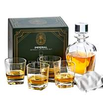 Imperial Whiskey Decanter Set for Men - Regal Trunk Whiskey Glass Set of 4 with Crystal Glass Decanter - Stylish Lead-Free Bourbon Scotch Liquor Dispenser and 4 Rocks Glasses - Glass Polishing Cloth