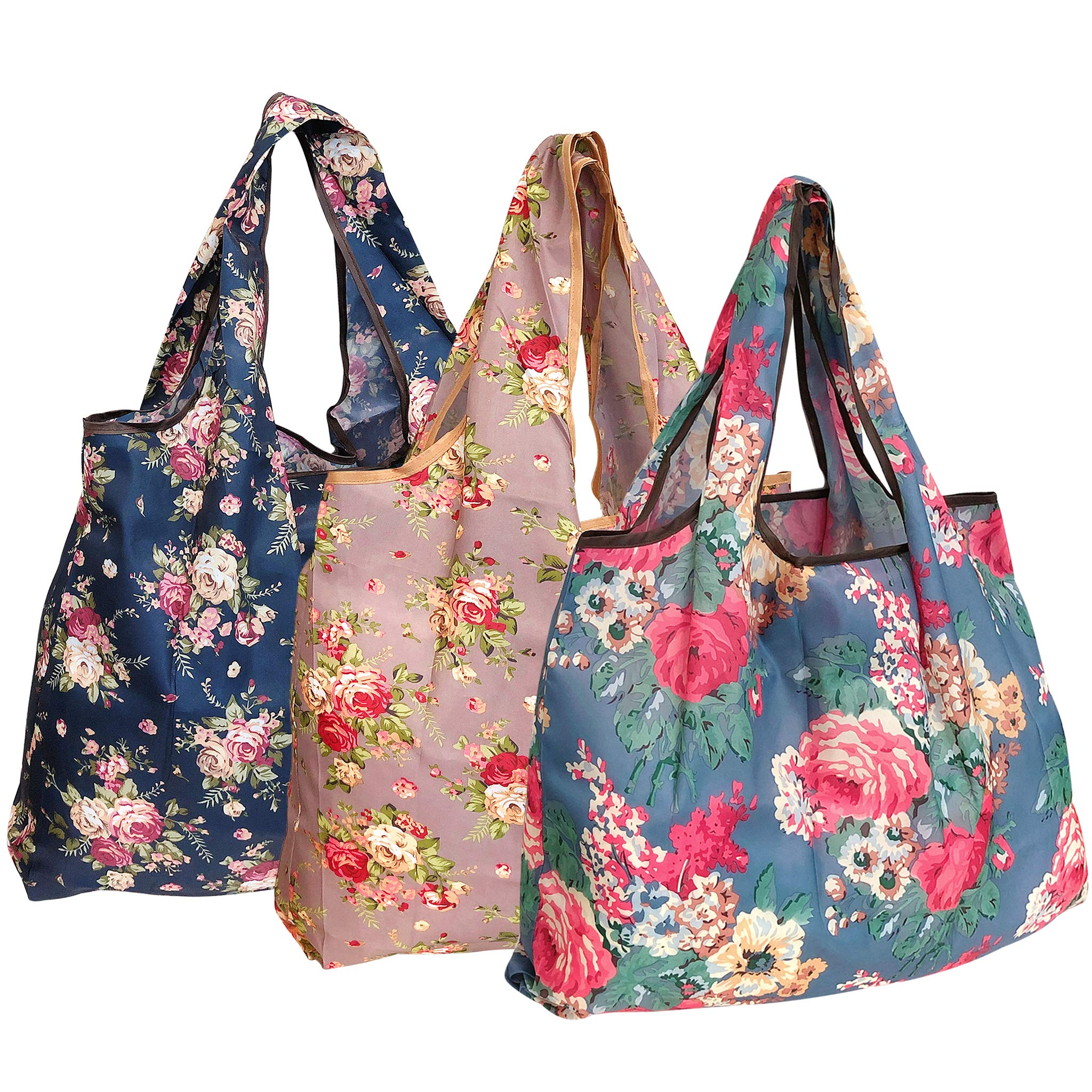 Wrapables A72043c Eco-Friendly Large Reusable Shopping Bags, Foldable, Lightweight, Durable, Flower Bouquet