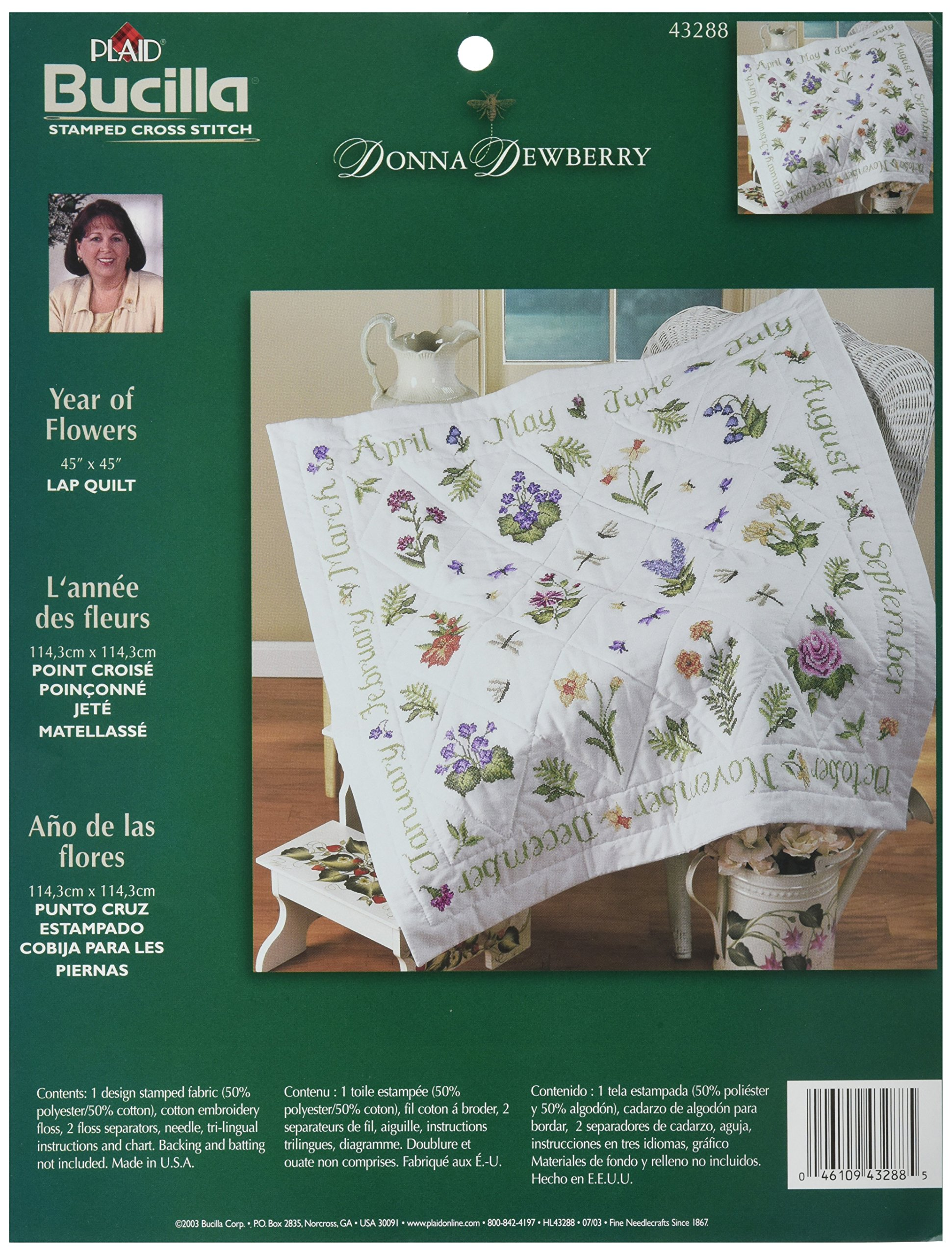 Bucilla Stamped Cross Stitch Lap Quilt Kit, 40 by 40-Inch, 43288 Year of Flowers