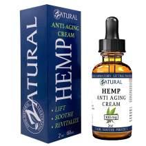 Hemp Anti Aging Cream 300mg - Premium Hemp Seed Oil - All Natural Advanced Formula for maximum Anti-aging results (300mg 2 Ounce)