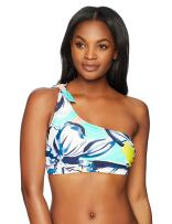 Amazon Brand - Coastal Blue Women's Swimwear Knotted One Shoulder Bikini Top