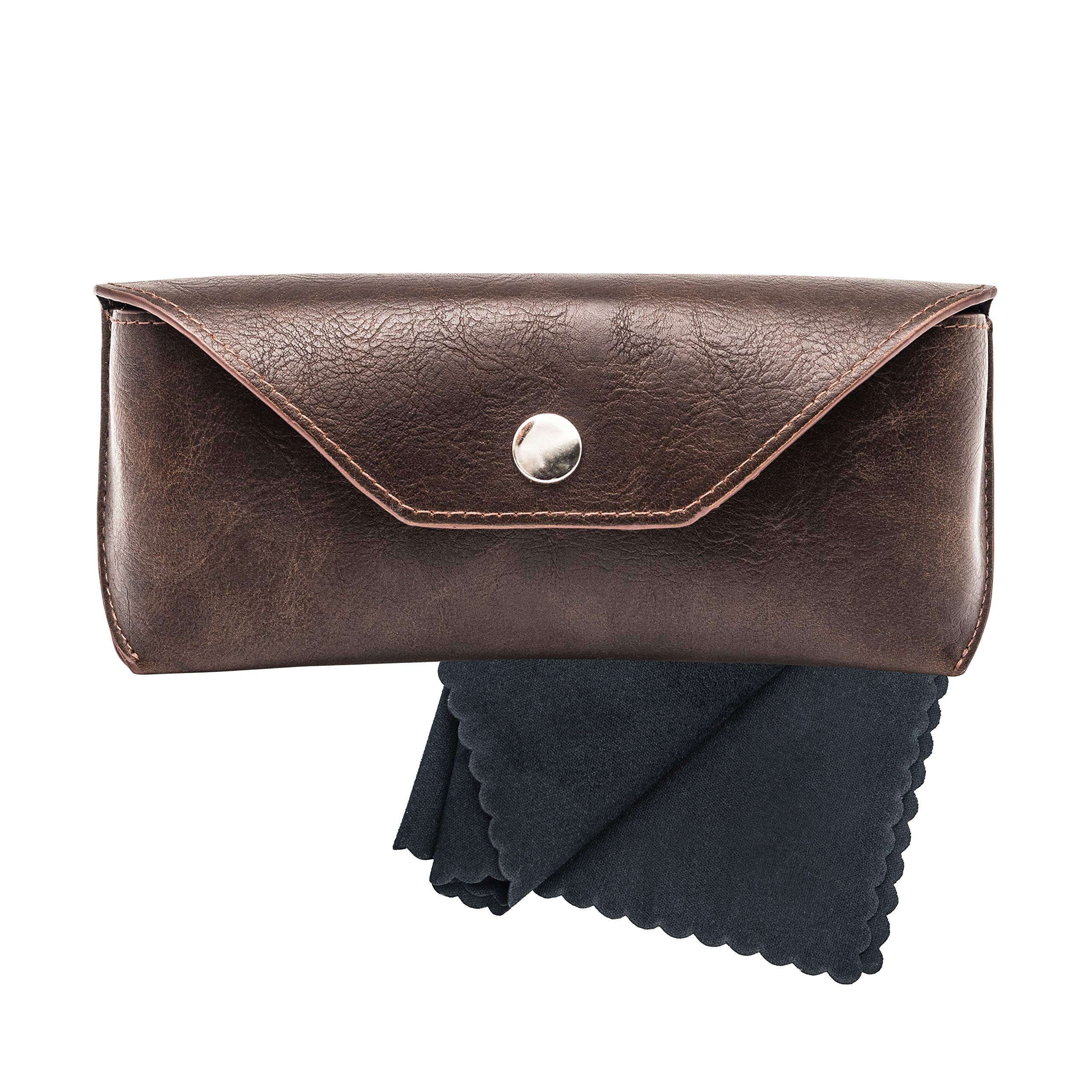 X Large Eyeglass Protection Leatherette Case Holder for Glasses And Sunglasses with Microfiber Cleaning Cloth - Men and Women