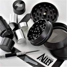 SILICONE ALLEY Herb & Spice Processing [PREP KIT] - Grinder (1) Nonstick Mat (1) Pick Tool (1) + Pollen Press [Aluminum] (1)