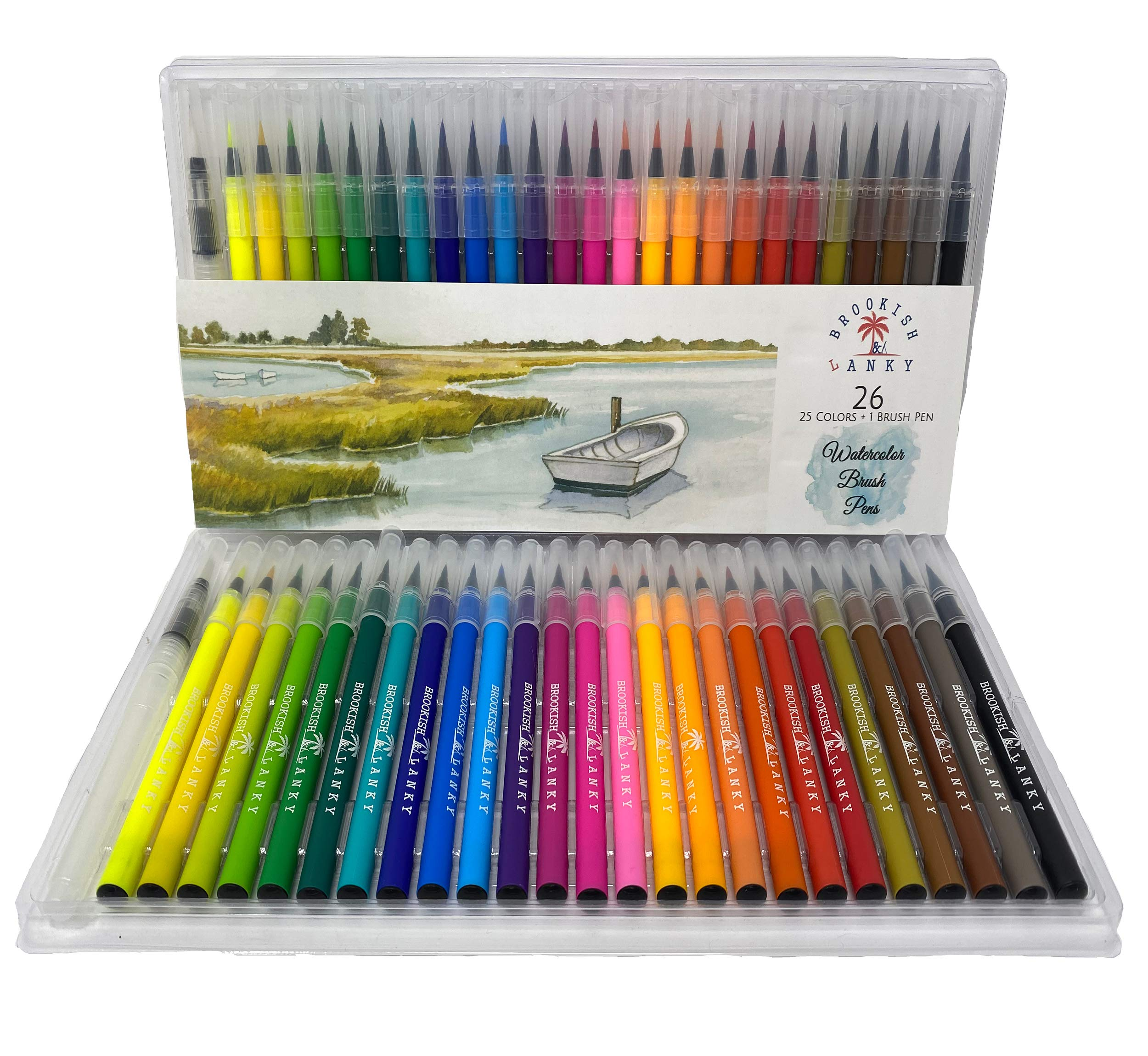 Water Coloring Brush Pens Set, 25 Vibrant Colors, Painting with Flexible Tip Paint Markers I Calligraphy, Drawing, Sketching for Artists Beginner Painters I Kids School Art Supplies