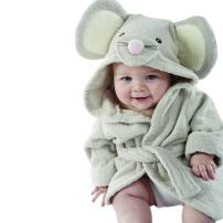 Baby Aspen, Squeaky Clean Mouse Hooded Spa Robe, Gray, 0-6 Months