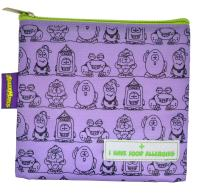 AllerMates I Have Food Allergies Fun Characters Eco Friendly Reusable Children's Food Safety Snack Bag - Purple