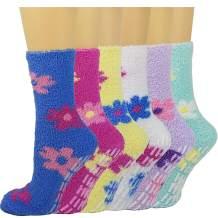 6 Pack Womens Fuzzy Socks Plush Slipper Socks Microfiber Soft Anti-Slip Debra Weitzner