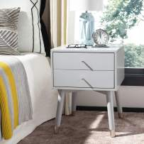 Safavieh Home Collection Lyla Mid Century Retro Grey and Silver Nightstand